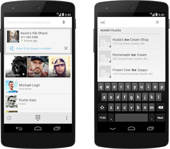 Android kitkat phone app