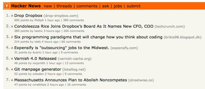 drop-dropbox on hacker news