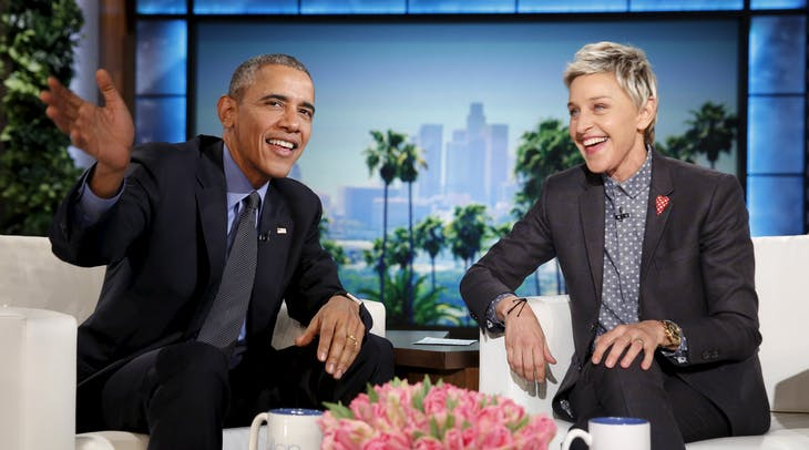 U.S. President Barack Obama appears on a taping of the Ellen DeGeneres Show in Burbank, California February 11, 2016.  REUTERS/Kevin Lamarque  - RTX26KKP